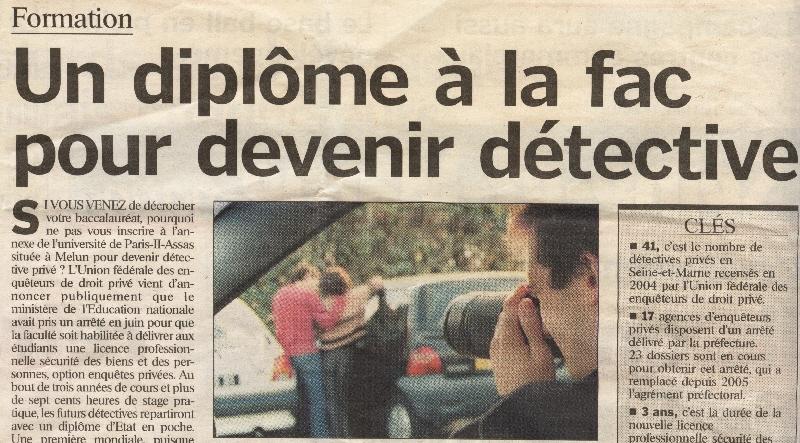 Undiplôme à la fac pour devenir détective (Le Parisien du 20 juillet 2006)