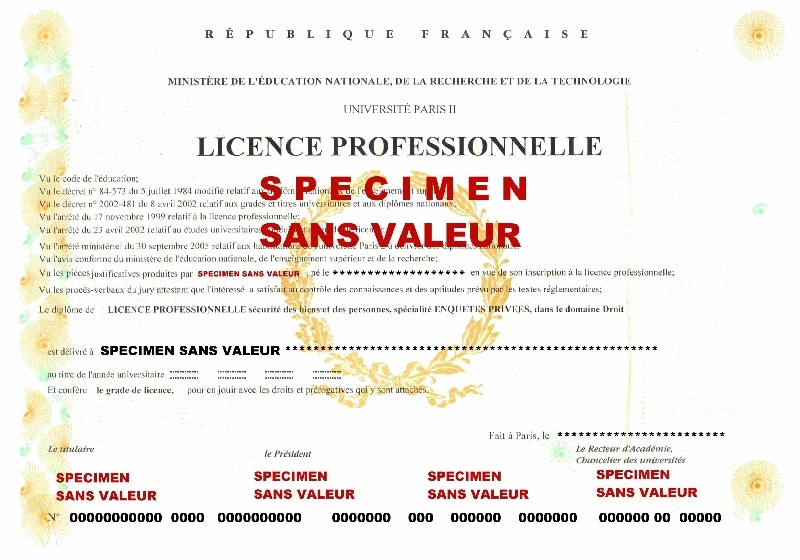 diplôme universitaire professionnel de détective délivré en 2001 par l'université Pantheon Assas Paris 2