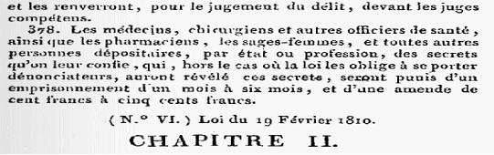 secret professionnel, article 378 code pénal Napoléon de 1810